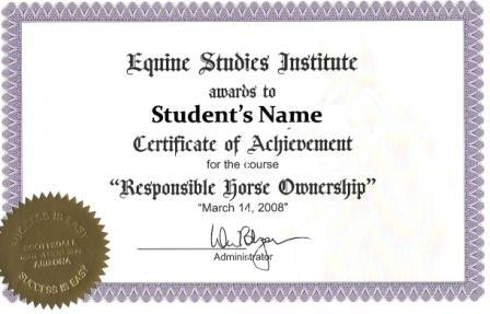 Learning About Horses Equine Studies Certificate Of Completion Sample